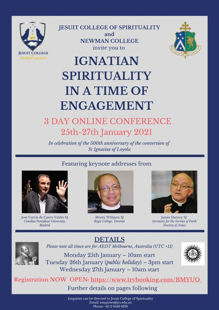 #Jesuit College of #Spirituality warmly invites you to attend the online conference, #Ignatian #Spirituality in a Time of Engagement to celebrate the 500th anniversary of the conversion of St #Ignatius of #Loyola. This 3 day online event is running from 25th-27th January 2021.