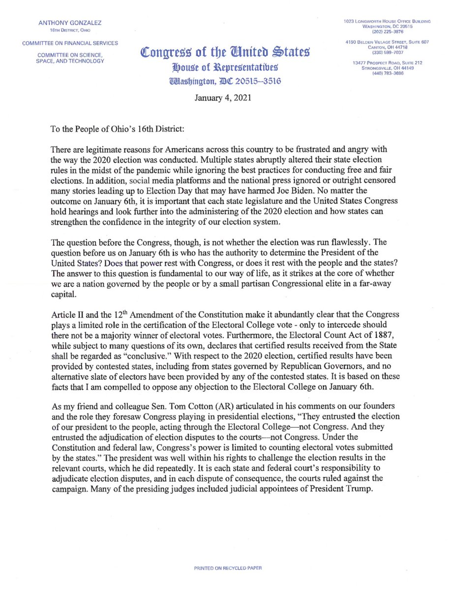 Congressman Gonzalezs open letter to constituents regarding the certification of the 2020 election