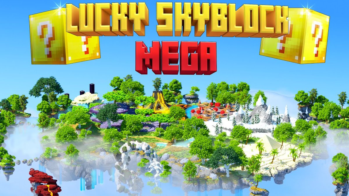 For one of our final daily deals, check out Lucky Skyblock Mega by @NorvaleMC! It combines the best of two worlds: lucky blocks, and skyblock! Explore the custom biomes on the mega skyblock and test your luck. Fun both alone or with friends!  🍀
