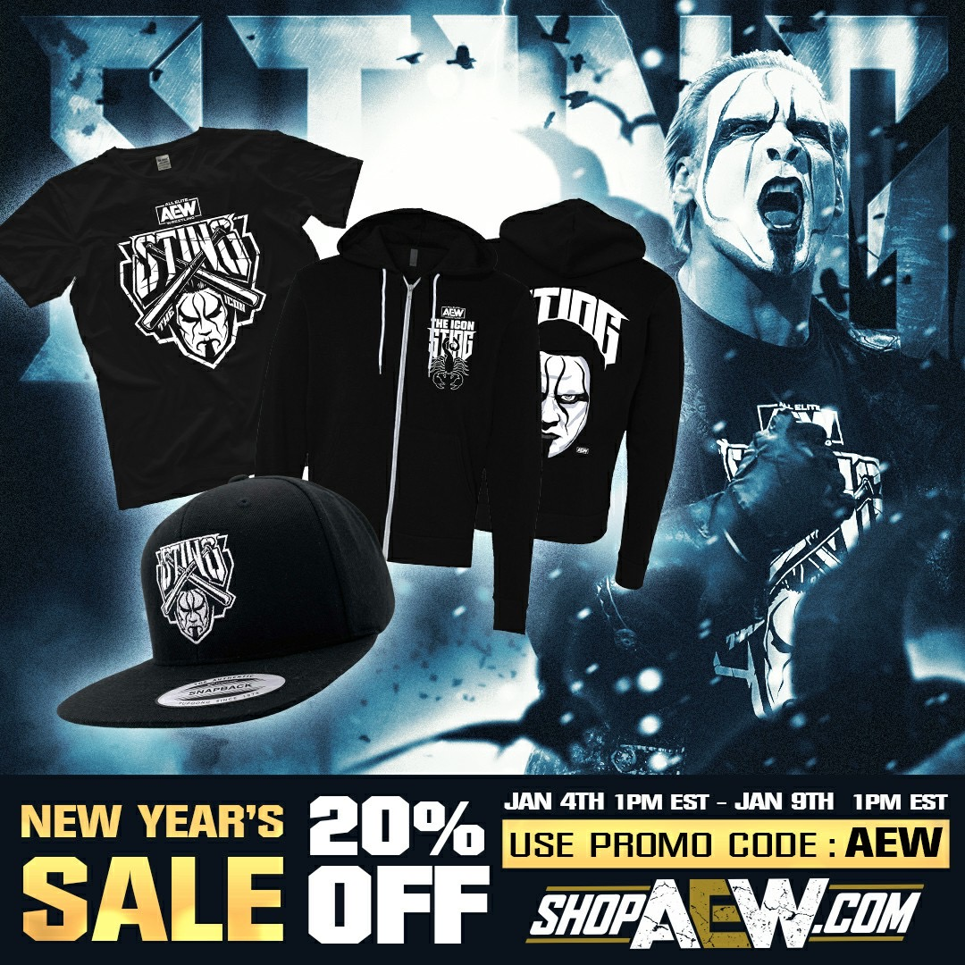 It's the New Year's SALE on NOW! Save 20% off everything sitewide including ALL @Sting merchandise!  Visit  and use the promo code AEW to start saving! The sale ends Saturday, Jan 9th at Noon CST