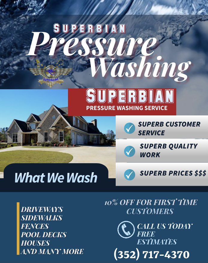 It's a new year so let start everything off with a new look starting with your house. If you want your house to look superb then call Superbian Pressure Washing to give your house a superb bath.