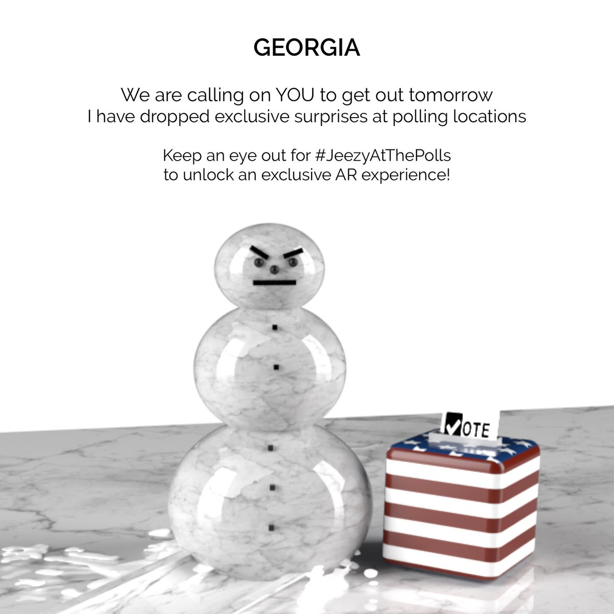Georgia, we are calling on YOU to get out tomorrow, January 5th, to cast your vote in the Senate runoff election. To celebrate this election and all Georgians, I am dropping surprises at polling locations across ATL tomorrow. Remember, to keep an eye out for #JeezyAtThePolls https://t.co/tbYSczd9uT