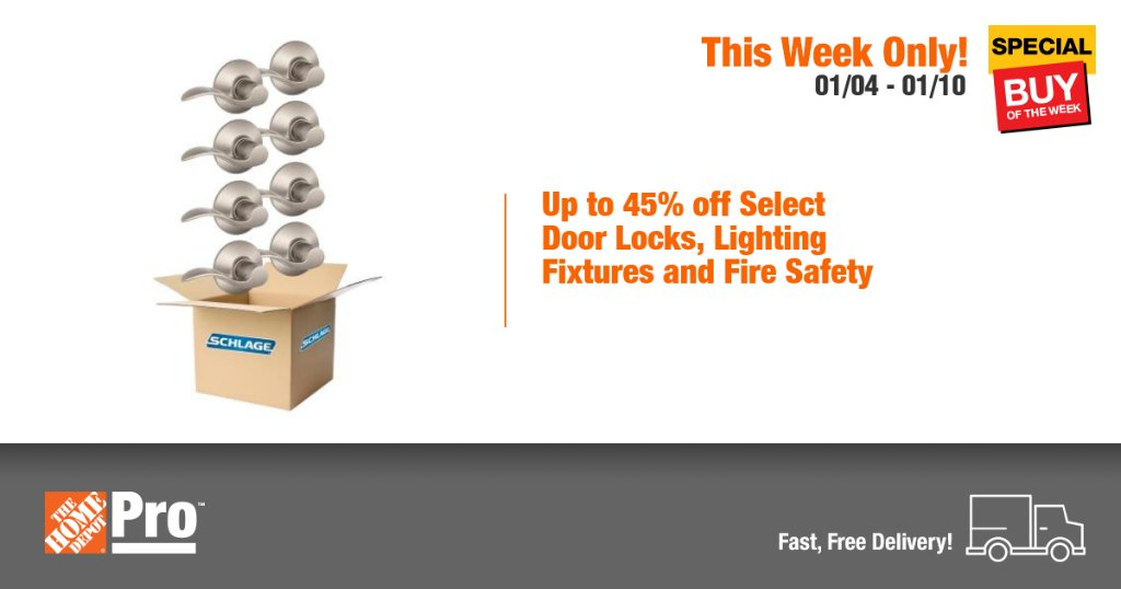 You'll find it easy to get the job done with our wide assortment of products. Enjoy savings on select door locks, lighting fixtures and fire safety from Home Depot's online only Pro Special Buy of the Week! https://t.co/rBfjeEfFUS https://t.co/9qTXsCuWLL