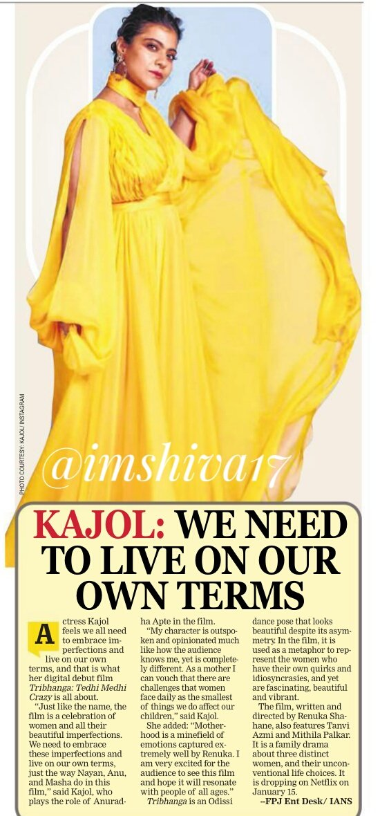 We need to live on our own  term, says @itsKajolD   The lead cast of #Tribhanga ,  which marks the digital debut  of the Dilwale actor, speak  about the uniqueness of their roles.   #TribhangaTrailer #Kajol