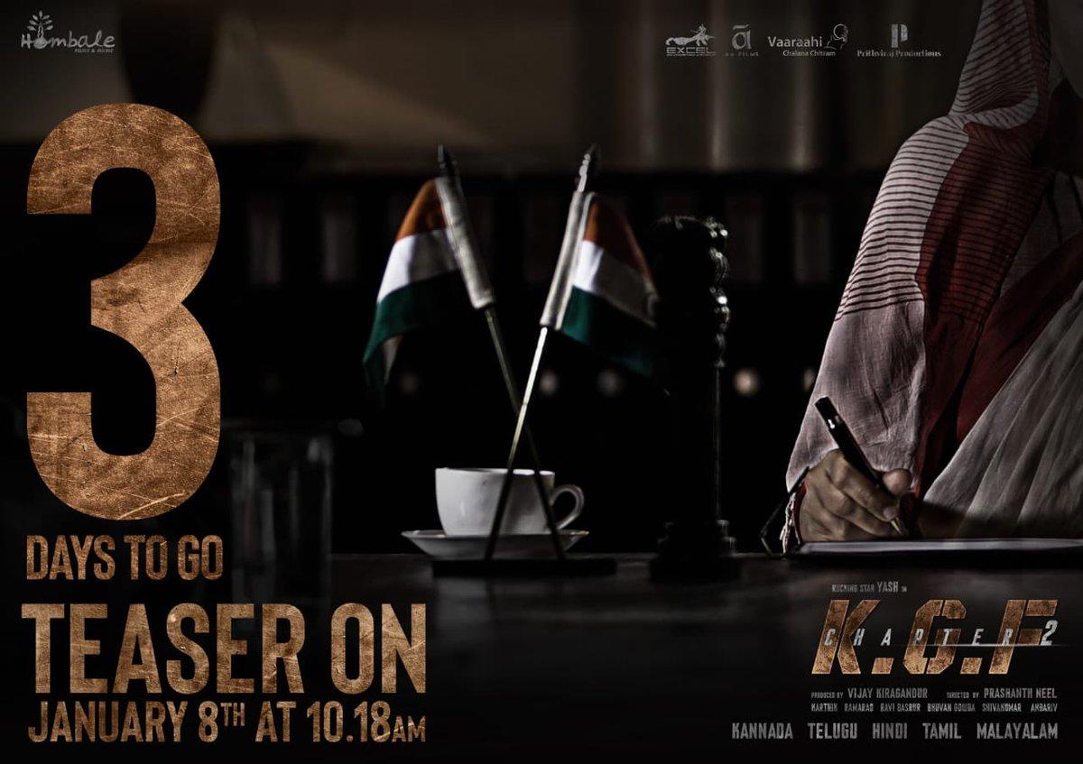 Too excited for this! 3 days to go.  Presenting #RamikaSen. Can't wait for #KGFChapter2TeaserOnJan8 at 10:18 AM on @hombalefilms YouTube Channel.  @VKiragandur @prashanth_neel @TheNameIsYash @duttsanjay @SrinidhiShetty7 @excelmovies @AAFilmsIndia @VaaraahiCC @PrithvirajProd