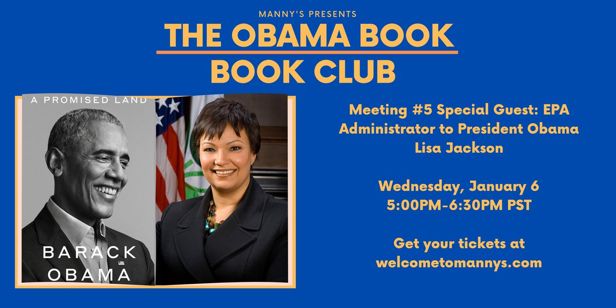 Join me on Wednesday for part 5 of the @welcometomannys national book club for President Obama's new book: A Promised Land. I'll be chatting about my time as EPA administrator. Register at  to join the community reading it together!