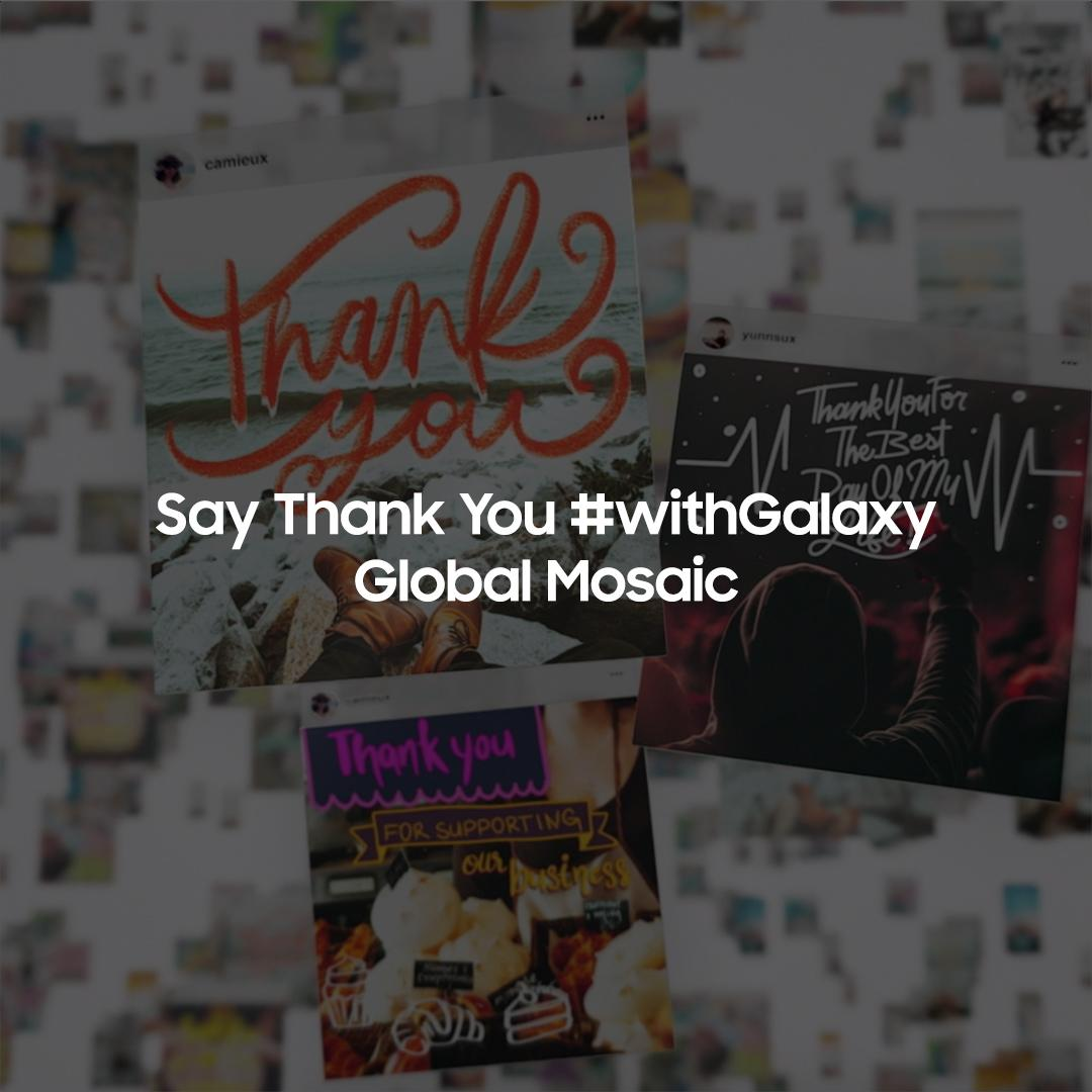 Thank you all for your beautiful #ThankYouNote's! We've received messages from around the world and now have a beautiful global mosaic. Take a look and witness your thank you for the world to see. #withGalaxy #GalaxyNote20   Learn more: