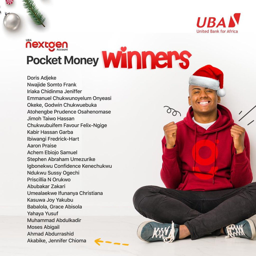 Meet our winners 🎊🎊  Last December, we held the #UBANextGen Account draw to reward 25 students/corps members. They will receive monthly pocket money of N15,000 for a whole year🥳.  Don't have a #UBANextGen Account yet? Dial *919*20# to open one right away. #UBACares