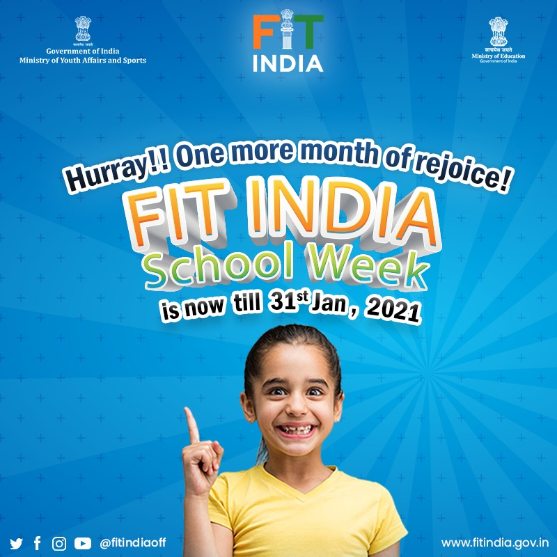Did you miss out on participating in the country's biggest School event? Don't worry, we got you covered as #FitIndiaSchoolWeek is now extended till 31st January! 😃  Register now to participate ➡️   #NewIndiaFitIndia  @KirenRijiju @IndiaSports