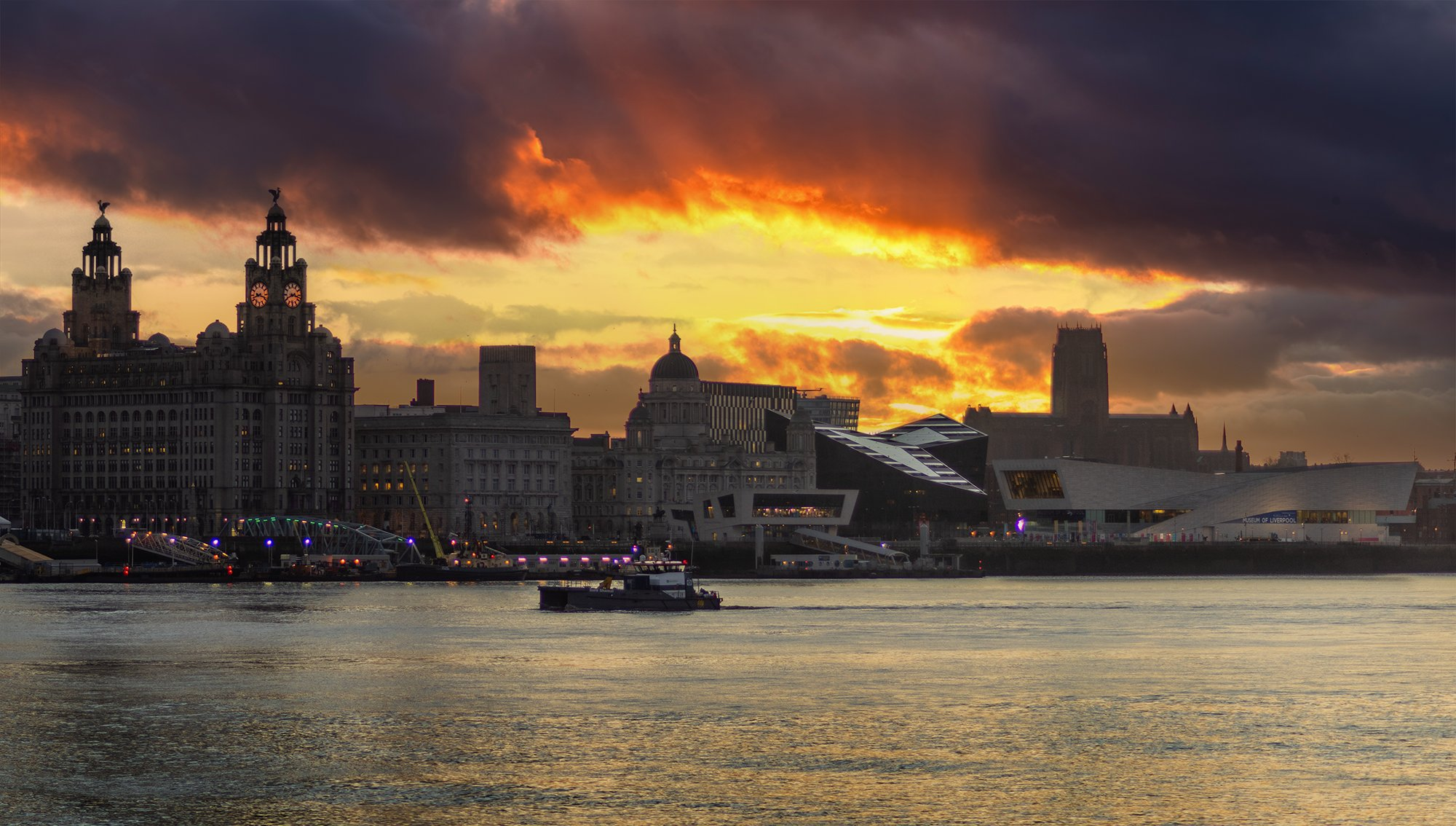 Liverpool waterfront at dawn