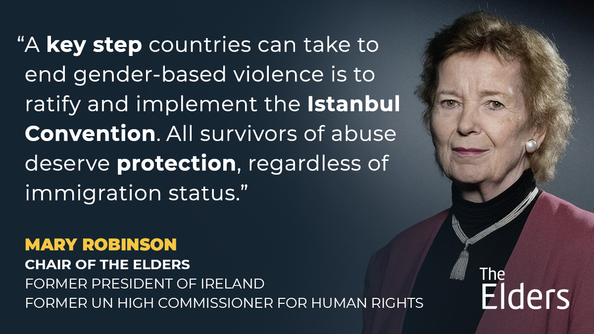 All survivors of abuse deserve protection.   Mary Robinson urges countries to ratify and implement the #IstanbulConvention - an important international treaty to specifically target preventing and combating violence against women.   #JusticeForAll #VAW #StillNotSafe