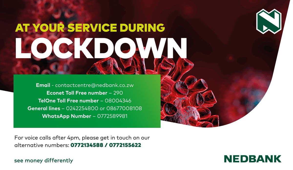 The #MoneyExperts are at your service 24/7 during this lockdown period. Our digital platforms also allow you to #bankfromhome #StaySafe #NedbankCares