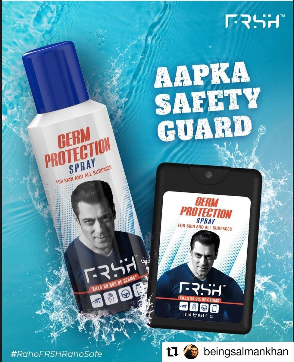 #Repost @BeingSalmanKhan • • • • • • These r the ones I use in bigg boss, on sets and home.... #rahofrshrahosafe  @frshgrooming #StayHome #StayFRSH #StayProtected (link in bio)