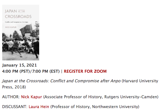 """For anyone interested, I'll be discussing my book """"Japan at the Crossroads"""" - about the largest popular protests in Japan's history - in conversation with Prof. Laura Hein of @NorthwesternU on Friday January 15 at 7 EST/4 PST for @USCeasc!   Register here:"""