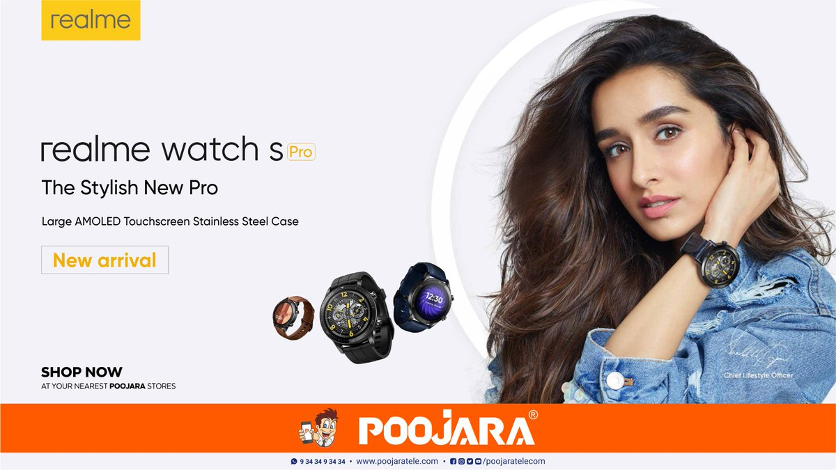"""❤️ The Stylish New Pro ❤️  Experience the 😍 realme Watch S Pro 😍 that Comes with:  ✅ 3.5cm(1.39"""") Large AMOLED Touchscreen 😍 ✅ 14-Day Battery Life 😎  Shop now at your Nearest POOJARA stores! #realmeWatchSPro #realmeWatchSSeries #realmeWatch #realme #PoojaraTelecom"""