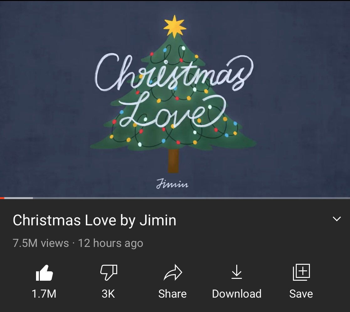 'Christmas Love' by Jimin surpassed 7M views within 11 hours, and 30 mins on Youtube, making it the most streamed korean audio song in 24 hours!   Remember this was a surprise release, no one is doing it like Jimin  Stream:   #ChristmasLoveByJimin #JIMIN