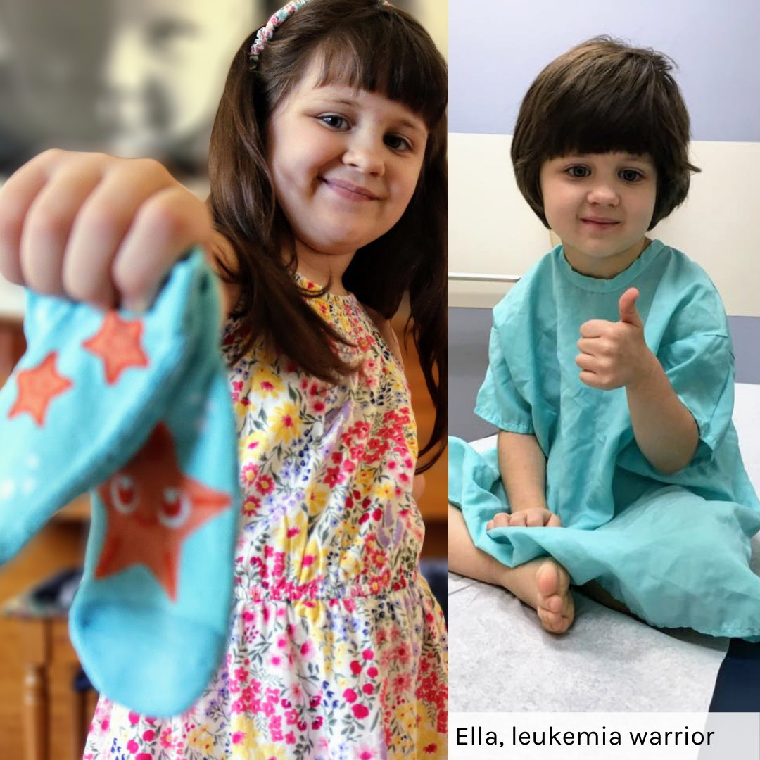 Ella is an 8-year-old survivor who co-designed starfish socks because the beach has always been her happy place. Starfish have a special ability to heal themselves and she hopes anyone who's sick can feel some extra strength while wearing her socks.