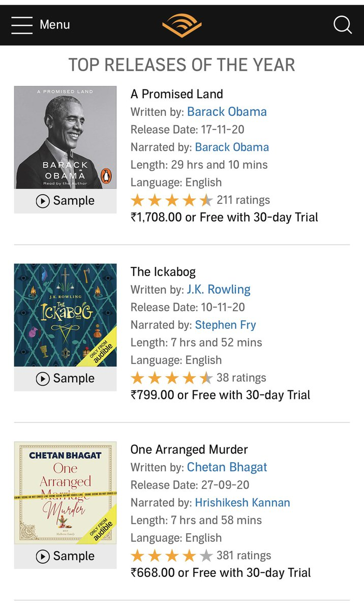 What an honour it is to for me to be on the #TopNewReleasesOf2020 in #AudioBooks ! thank you @chetan_bhagat & @Audible_ind #OneArrangedMurder . If you haven't caught my narration of this bestseller pls do so right away
