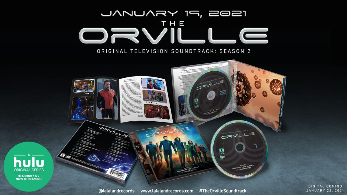 Hugely excited to announce the release of this soundtrack featuring music by @cotteemusic, @joelsephmc and @JohnDebney! Pre-order now at  @SethMacFarlane  @LaLaLandRecords  @hulu  #TheOrvilleSoundtrack