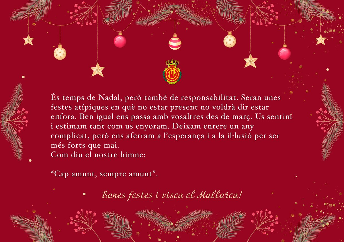 Replying to @RCD_Mallorca: Bon Nadal i bones festes! ☺️ 🎄 👺