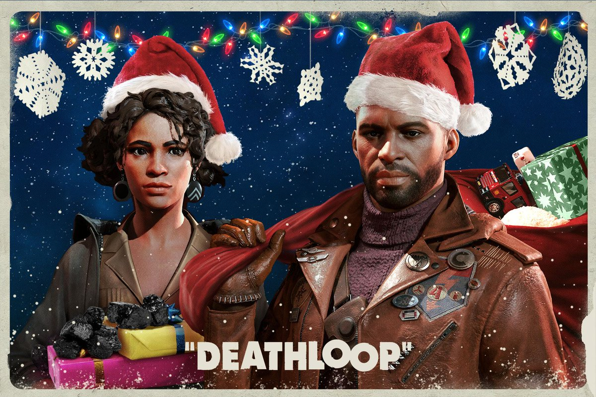 'Dashing through Blackreef, restart the loop all day. O'er the fields with Colt we go, tracking down all 8!'  Even on Blackreef, there's time to celebrate the season. Happy Holidays from #DEATHLOOP!