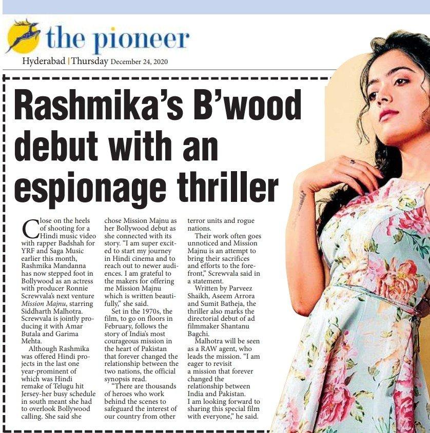 @iamRashmika 's B'wood debut with an espionage thriller! Close on the heels of shooting for a hindi music video with @Its_Badshah and @yrfmusic @Sagamusic she's now stepped foot in bollywood! #rashmikamadanna #missionmajnu #bollywood #badshah #yrf #ShantanuBagchi
