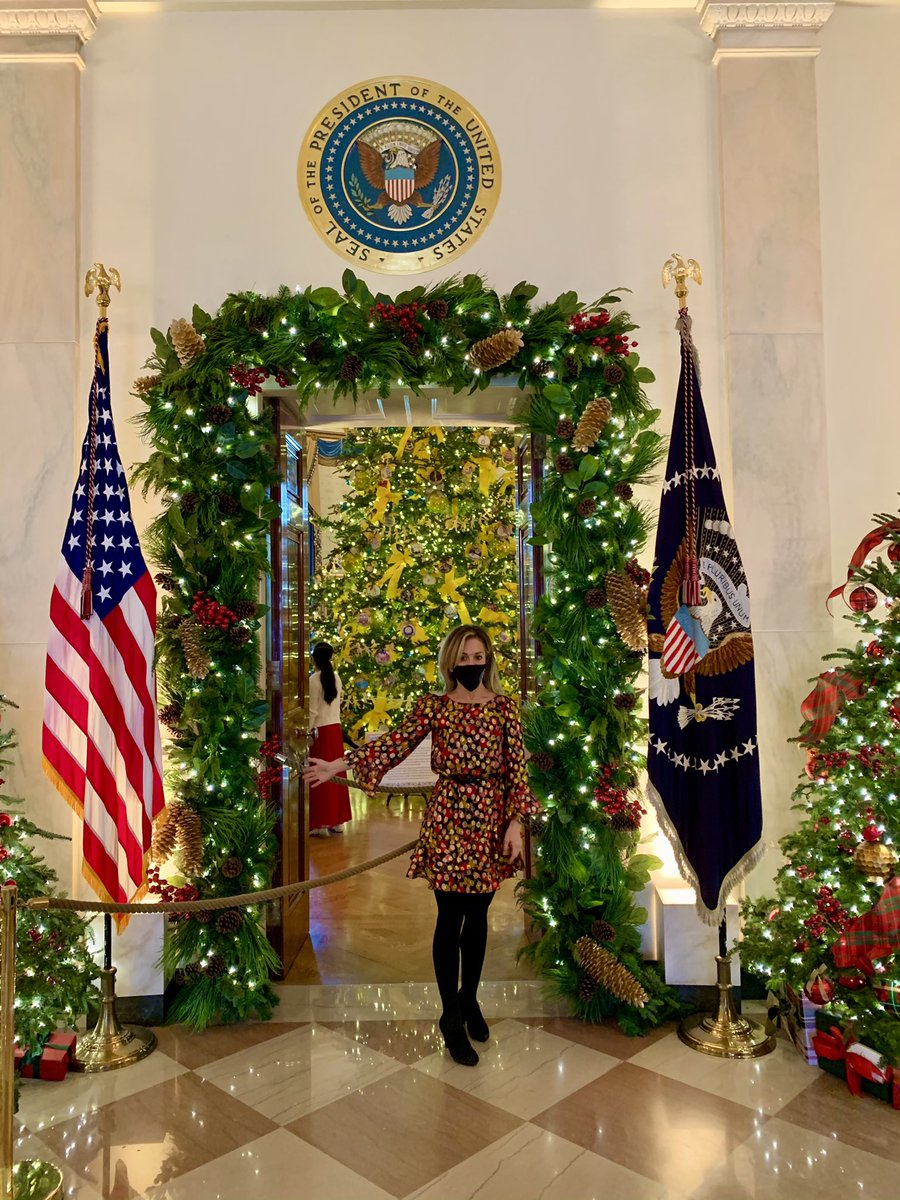 "Truly an ""America the Beautiful"" theme decorated @WhiteHouse this year.  I most loved the Red Room salute to first responders and front line workers for their selfless efforts this year caring for those sick from #COVIDー19 . #FrontLineHeroes #WHChristmas #GodBlessAmerica"