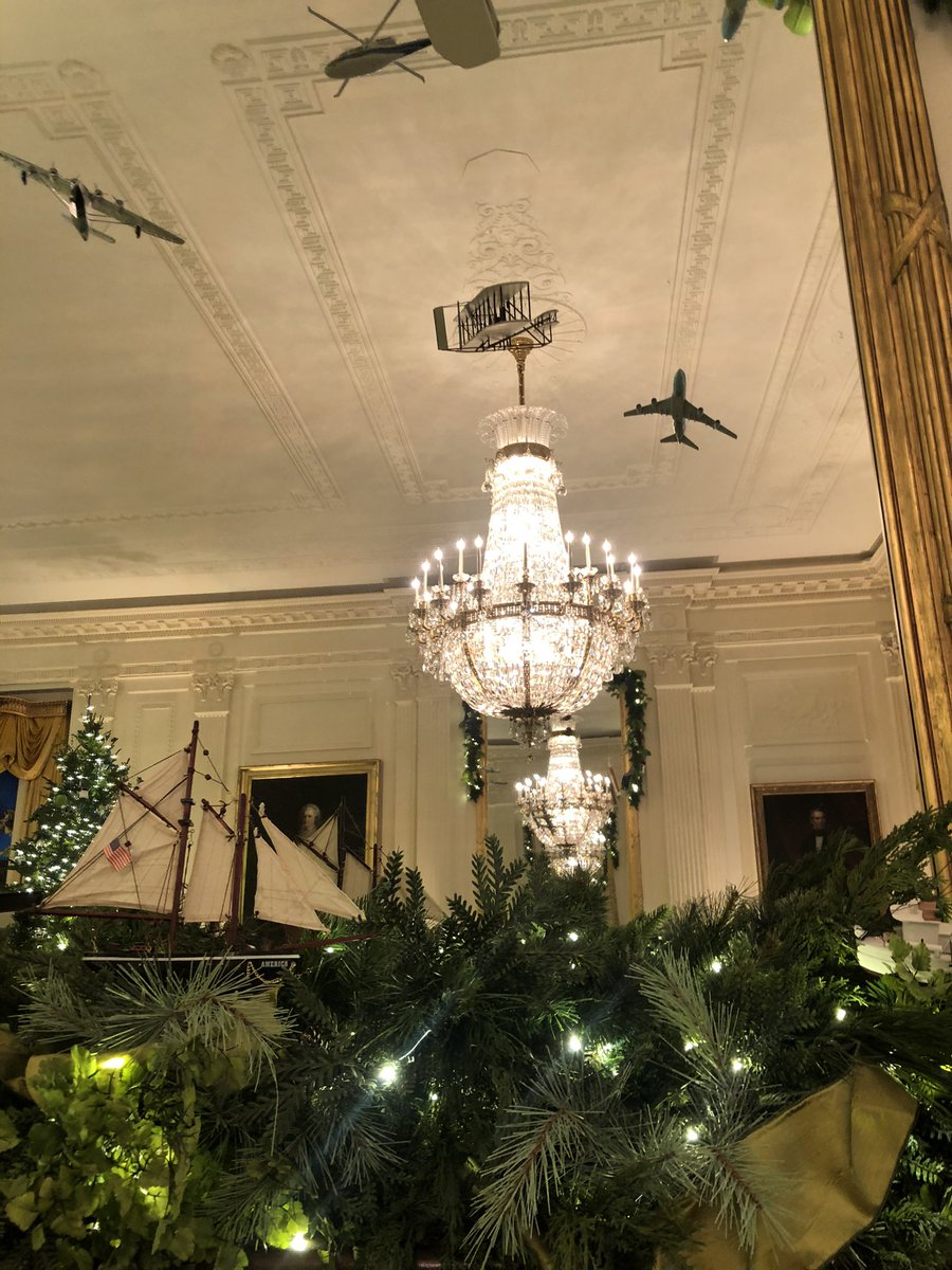 "Also loved the ""trains, planes and automobiles"" all over the East Room! #whchristmas"