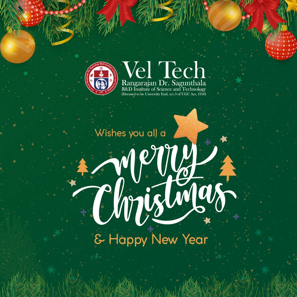 #Vel_Tech wishes everyone a #merrychristmas2020 and #HappyNewYear2021  #happyholidays #HappyThanksgiving2020 #christmas2020 #newyear2021
