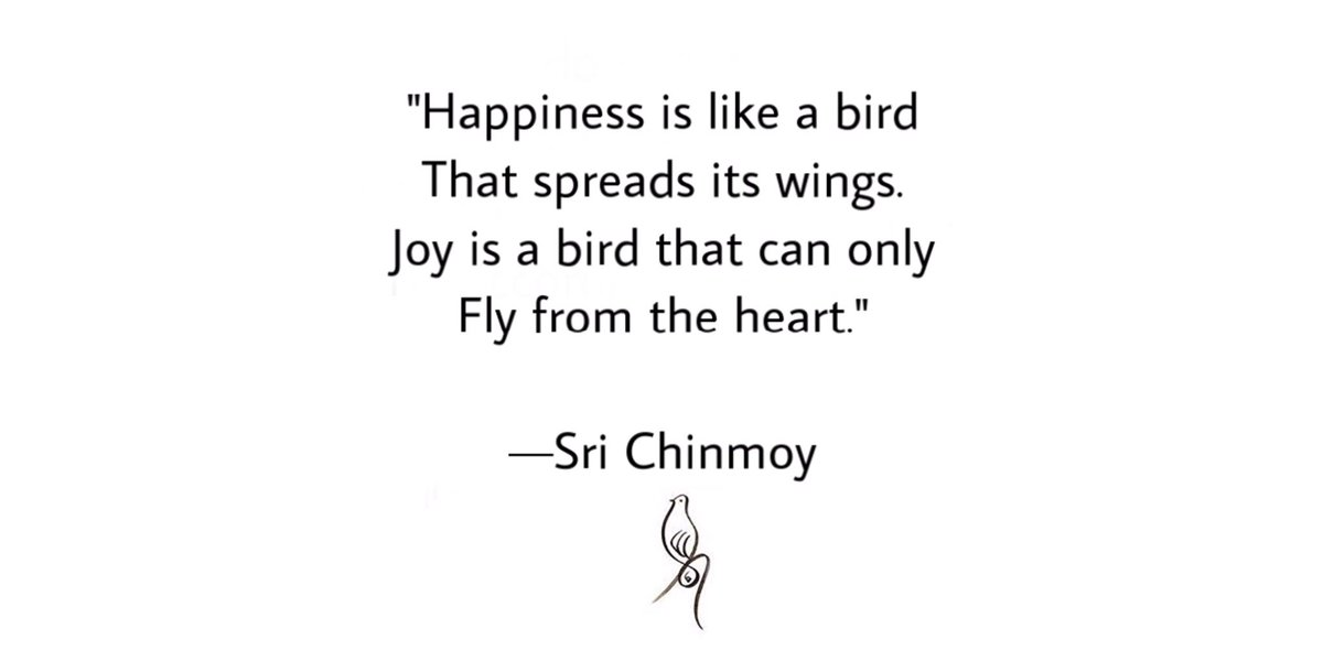 """Happiness is like a bird That spreads its wings.  Joy is a bird that can only  Fly from the heart."" — Sri Chinmoy 🕊  Merry Christmas💙🎄  #wednesdaywisdom #InspirationalQuotes #srichinmoy #wisdomquotes #happinessissimple #joytotheworld #liveinspired #WorldKindnessDay #Christmas"