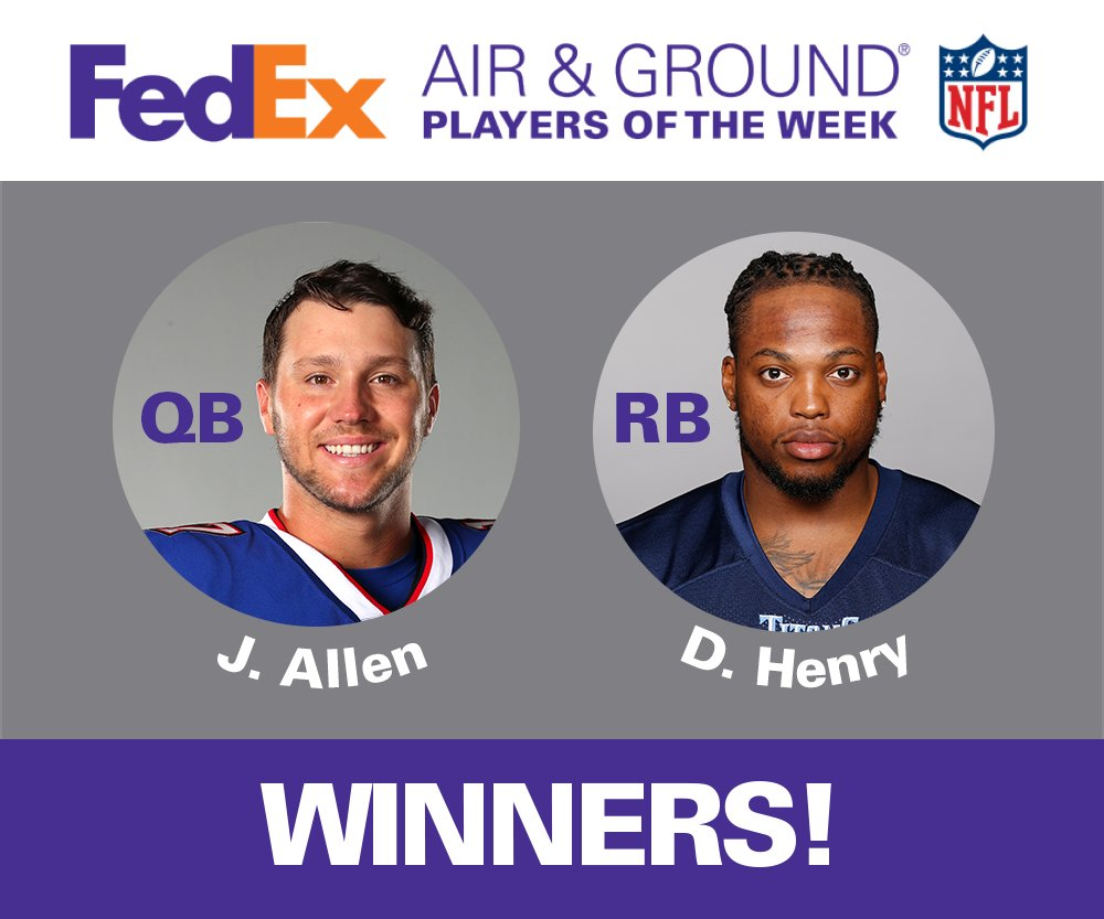 The official results are in! The Week 15 FedEx #AirandGround @NFL Players of the Week are Josh Allen and Derrick Henry.