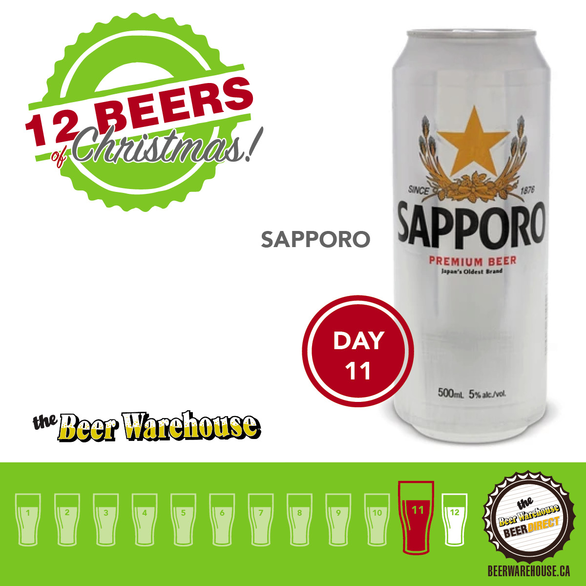 On the eleventh day... try the original. The icon. Sapporo Premium Beer is a refreshing lager with a crisp, refined flavor and a clean finish. https://t.co/AJlKOiBl8n https://t.co/yyKoGWx5Va