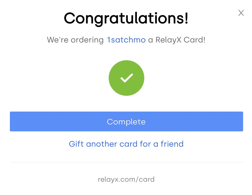 So awesome! Great work @relayxio team! Get yours: relayx.com/card/