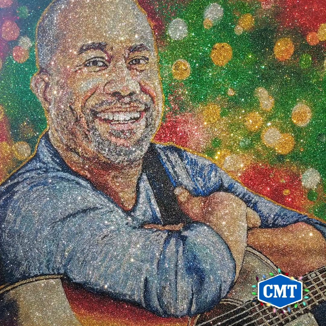 We're in a ✨ glittery ✨ mood this holiday season and @dariusrucker is lighting up the room like a Christmas tree 🌟 🎄 #CMTHolidayCountdown  (🎨 by @TrilliLife)
