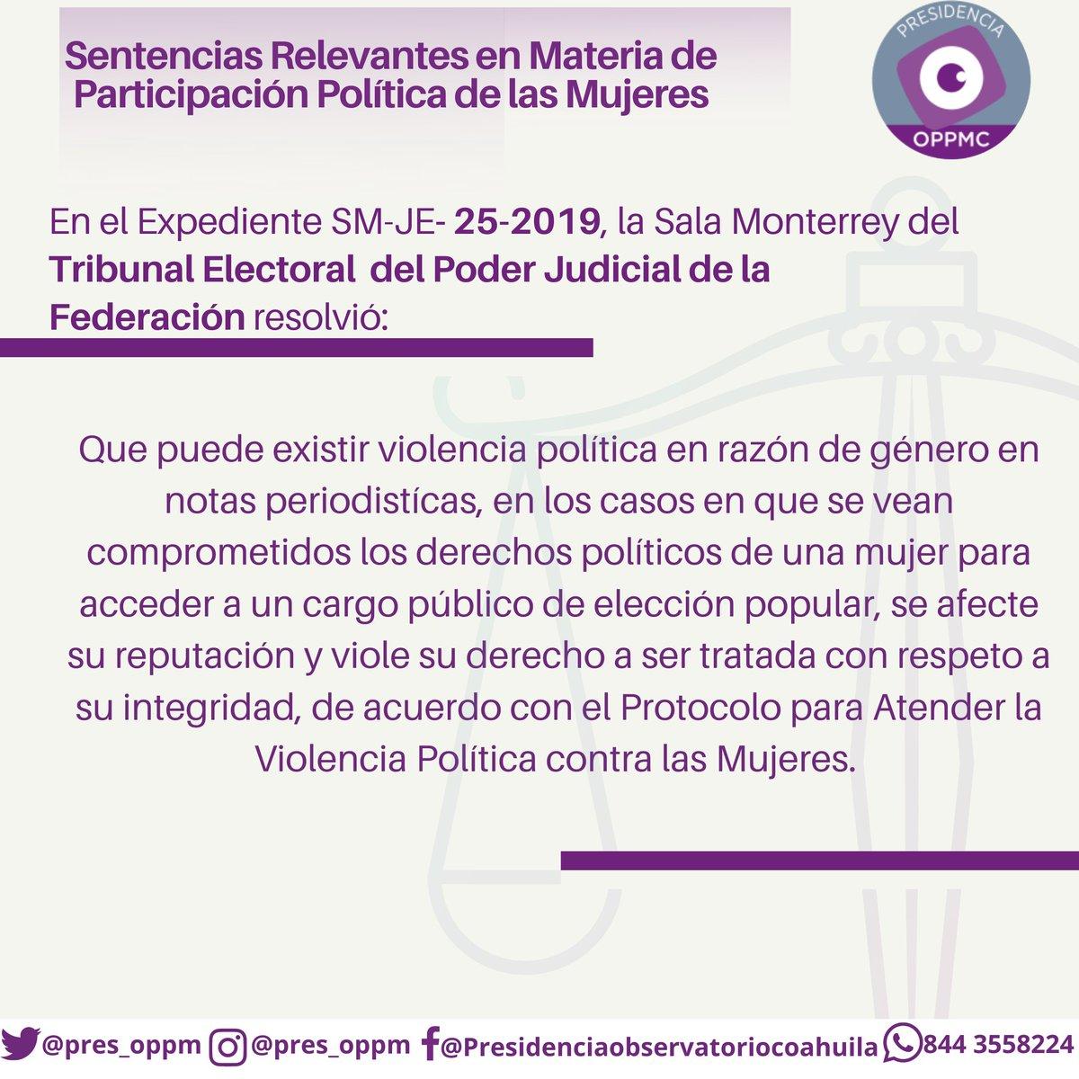 📌 El @TEPJF_MTY resolvió en el expediente SM-JE-25-19, en qué casos es posible acreditar la violencia política contra las mujeres en razón de género en notas periodísticas.  #MxM #ViolenciaPolítica