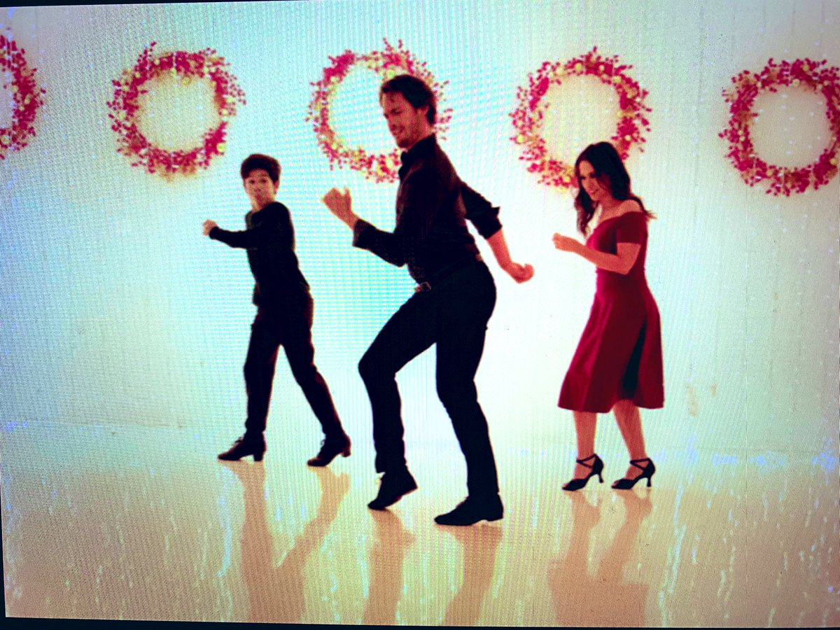 A screenshot (from the monitor) of a scene that never made it into #ChristmasWaltz - I can't think why? 🤔😂🎄🕺🏻💃🏻❤️ on @hallmarkchannel commercial free #ChristmasDay !! #MerryChristmas