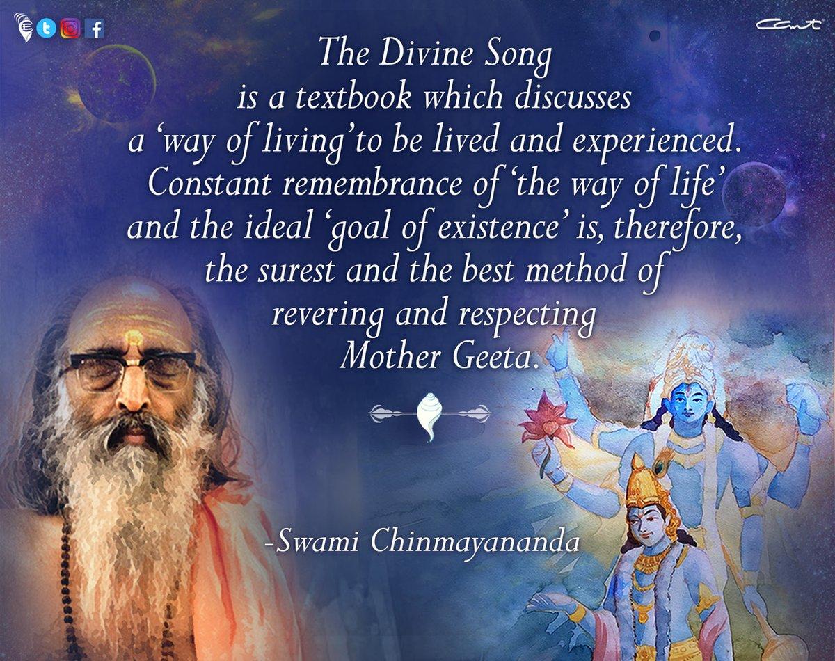May the blessings of Mother Geeta, Swami Tapovanam and Lord Vishnu enrich our lives with bliss!  #tapovanjayanti⠀ #geetajayanti⠀ #chinmayam⠀ #lordkrishna #thoughtfortheday #spiritualjourney #selfawareness #vedanta #advaita #dhyanayoga #meditation #chinmayamission