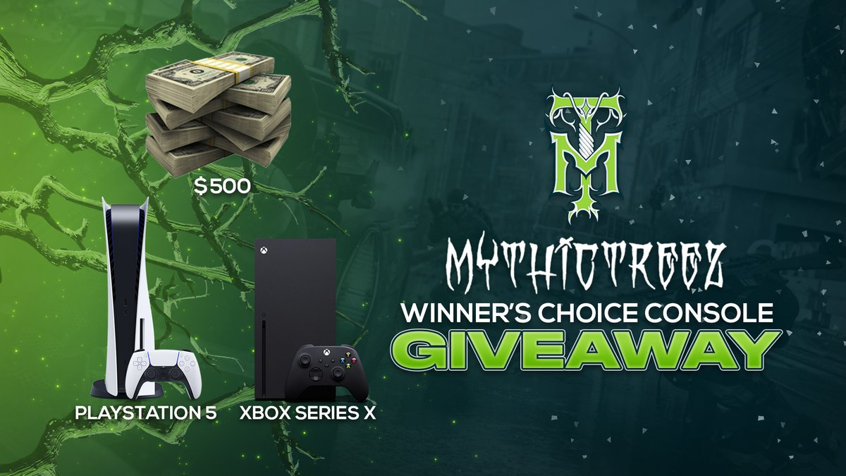 We're giving a #PS5, #XboxSeriesX, or $500 to one lucky winner that retweets this and tags a friend.  You must be following @MythicTreez to win. Entries close Jan 14th, at 11:59 pm pst.  🔽 Enter Here 🔽   Thanks for all the support recently.