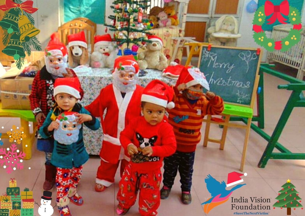 HO HO HO! Our little Santa brigade is all set for Christmas Celebrations 🎉 India Vision Foundation Family wishes you all Merry Christmas🎄 Stay warm, stay safe enjoy the festivities @SainaBharucha  @thekiranbedi #SaveTheNextVictim #Christmas2020 #PrisonReforms #ChildrenofInmates
