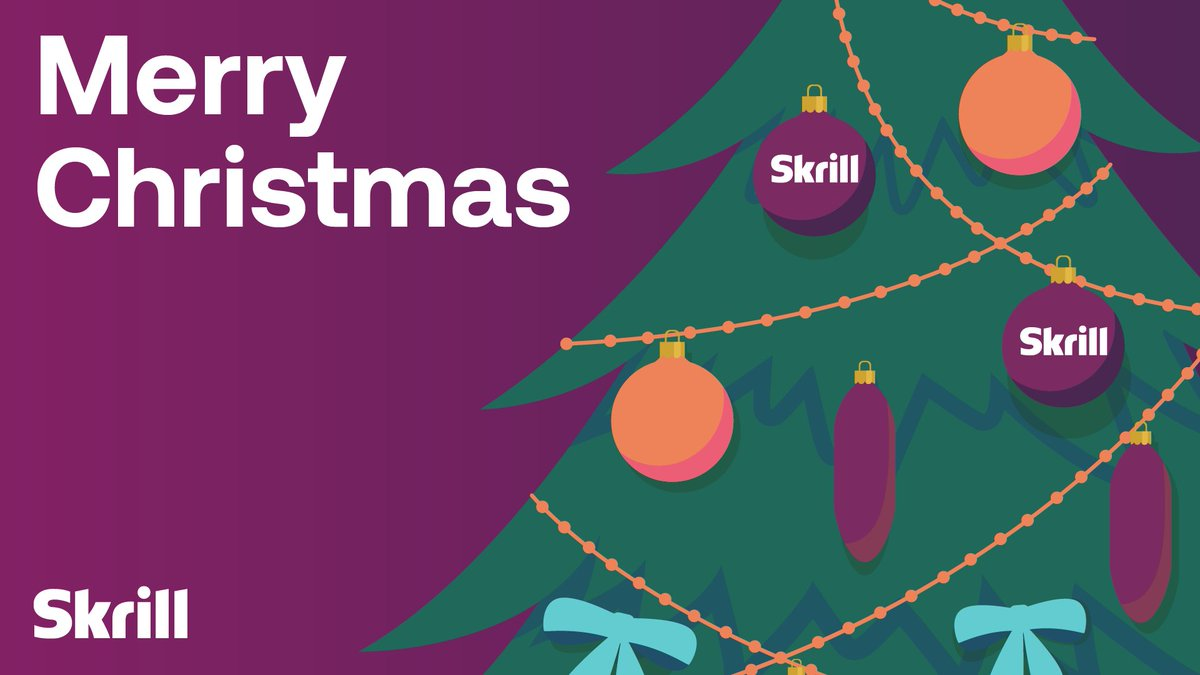 Merry Christmas from the whole Skrill team! 🎁  Even though many families can't spend this festive time together this year, we hope that the #Christmas spirit will fill your home with peace, joy and love. https://t.co/Z7Eiv3slDD
