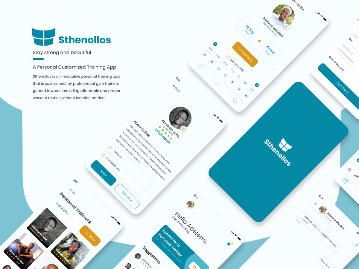 """""""Sthenollos App Design — UI/UX Case Study"""" by Abraham Iko-ojo John   Hello Guys, please check out the app design project I worked on.   Please like, retweet, comment and share. Thanks  #ui #Christmas #xmas2020 #uiux #design #earthquake #fitness #workout"""
