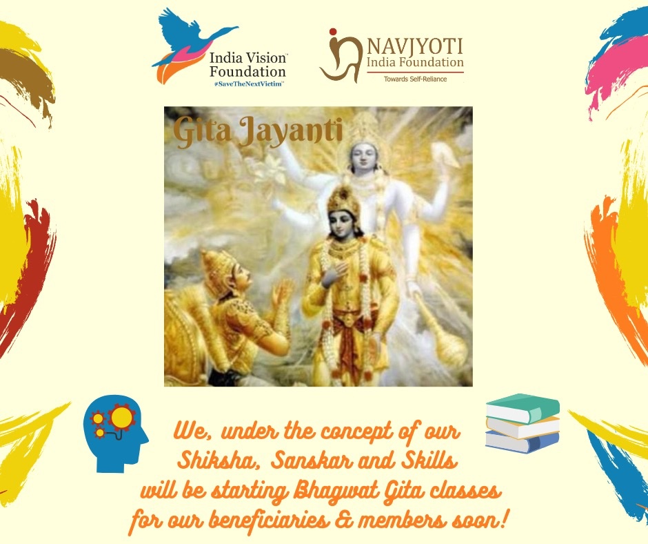 On Gita Jayanti ✨  India Vision Foundation with @NavjyotiIF is happy to announce its upcoming online Gita classes for it's beneficiaries and members soon! @SainaBharucha @thekiranbedi  #SaveTheNextVictim #GitaJayanti2020 #NGO #DigitalIndia #PrisonReforms #ChildrenofInmates