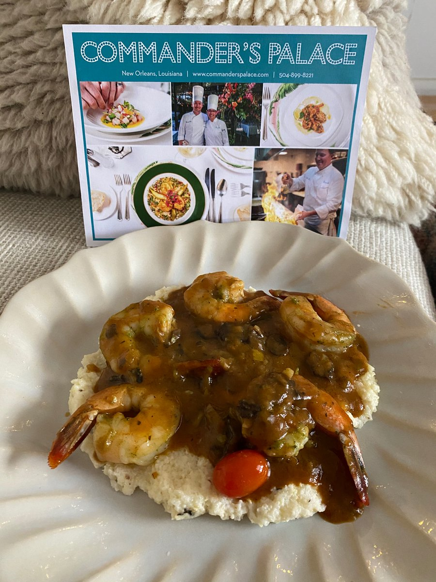 "A taste of New Orleans and home. ""Homemade"" shrimp and grits thanks to @CommandersPalac and @goldbelly. #plating ❤️🎄"