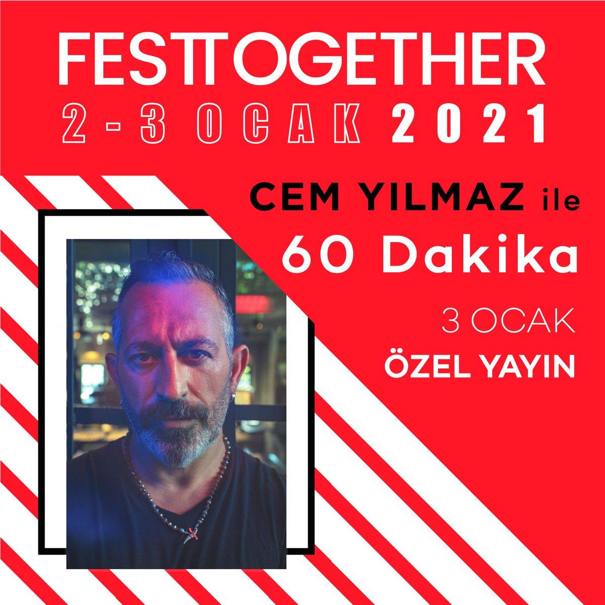 """""""Cem Yılmaz ile 60 Dakika"""" 3 Ocak'ta Festtogether'da!  @CMYLMZ  Bilet gelirinin tamamının Covid-19 salgınından etkilenen sanat emekçilerine aktarılması amacıyla düzenlenecek online etkinliğin biletleri yakında @MobiletOfficial 'da satışta!"""