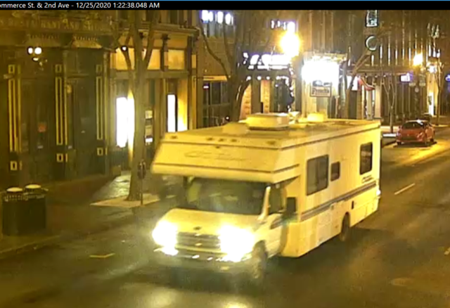 BREAKING: This is the RV that exploded on 2nd Ave N this morning. It arrived on 2nd Ave at 1:22 a.m. Have you seen this vehicle in our area or do you have information about it? Please contact us via Crime Stoppers at 615-742-7463 or online via . @ATFHQ