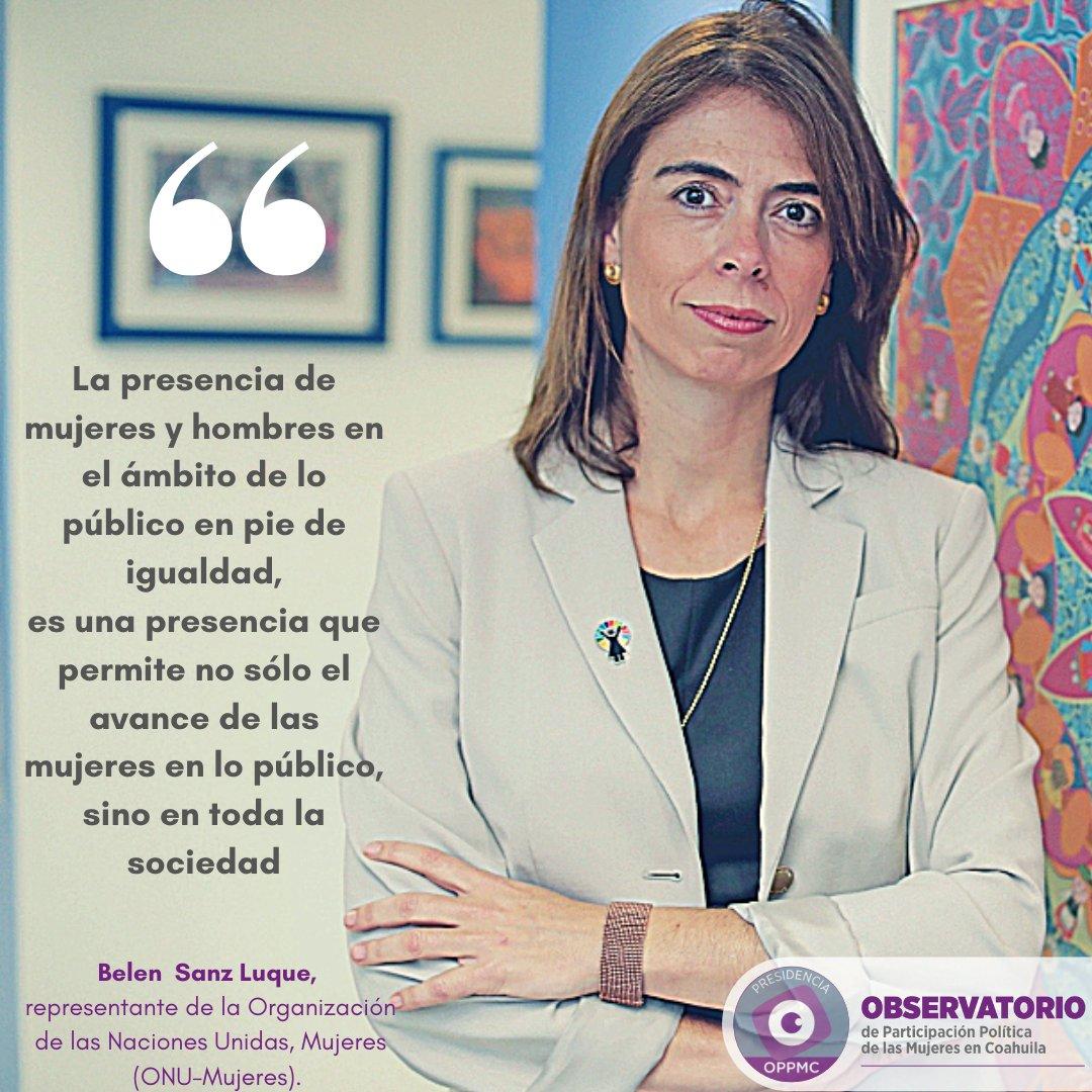 En este #DíaNaranja #25, recordamos la importancia de la participación de las mujeres en el ámbito público en condiciones de igualdad y sin violencia con una de las frases de @BelenSanzLuq, representante de @ONUMX.