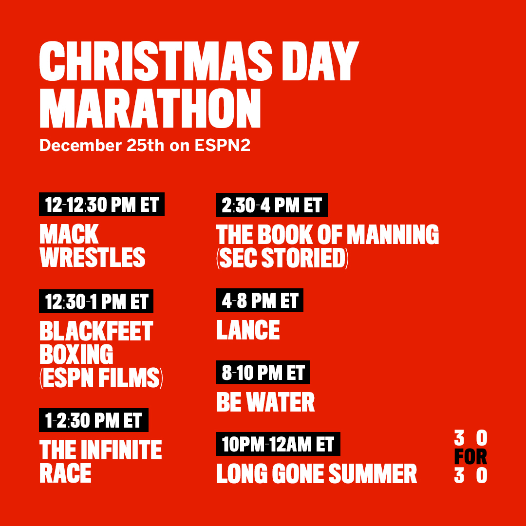 30 for 30 has you covered on Christmas Day 🎁  Our Christmas Day Marathon, starting at 12 PM ET on ESPN2 https://t.co/QHPH4zmz9Z