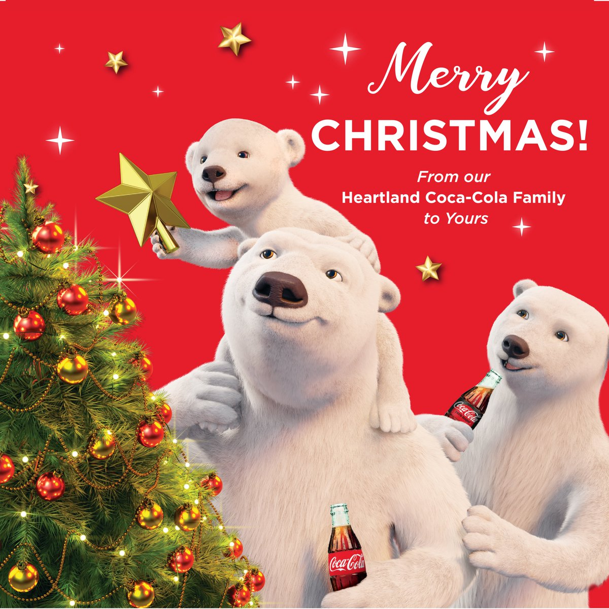 Best wishes and a very Merry Christmas from your friends at Heartland Coca-Cola. We hope your day is filled with lots of laughter, love, and fellowship. #MerryChristmas