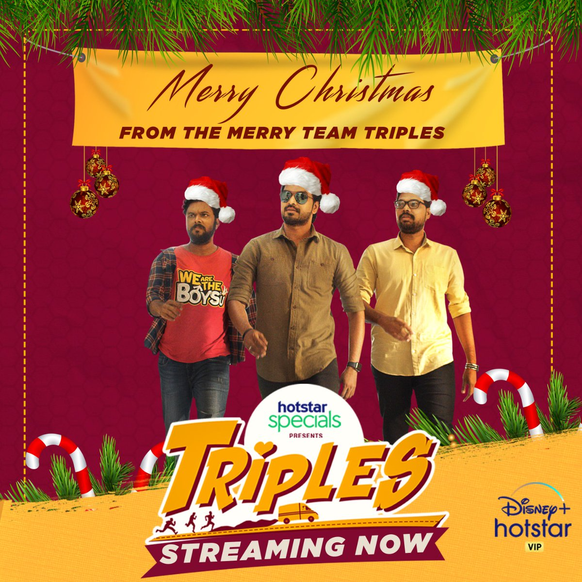 Jingle bells🎊🔔.. Jingle bells🛎🎋.. #Triples👫➕🙋 all the way‼️  Ho., Ho., Ho🎅., Celebrate this holiday🍪 season with the 'Triples'😄 only on @DisneyplusHSVIP📺🌟..  #triplesthefun #Jai #VaniBhojan @karthiksubbaraj @CharukeshSekar @kalyanshankar @Actor_Jai @vanibhojanoffl