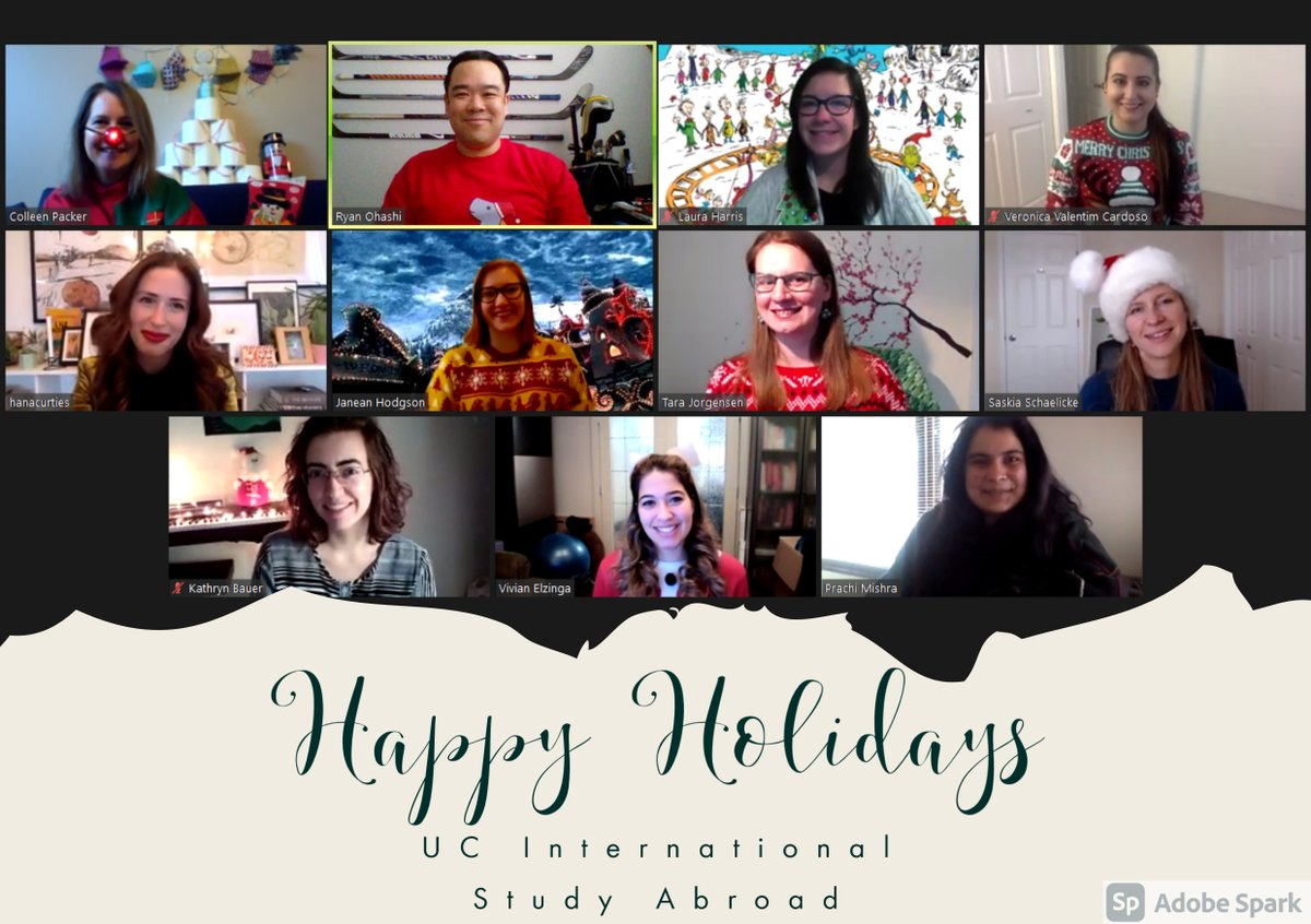 From all of us in #UCalgary Study Abroad have a very happy, safe, (socially distanced) Holidays everyone! Please note that we will be closed from Dec 23, 2020 til Jan 3, 2021. We look forward to seeing everyone in the new year! https://t.co/4W4Fg1F5jD